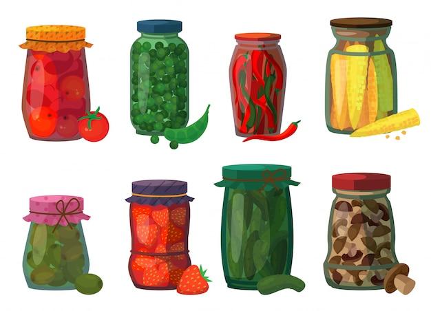 Groenten in het zuur geïsoleerd cartoon vastgesteld pictogram. het beeldverhaal vastgestelde pictogram behoudt fruit.