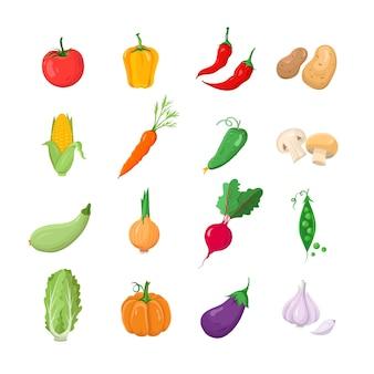 Groenten - moderne kleur vector iconen set. tomaat, zoet, hete peper, aardappel, maïs, wortel, komkommer, champignon, pompoen, ui, radijs, erwten, salade, pompoen, aubergine, knoflook