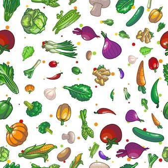 Groenten naadloos patroon tekening illustratie ontwerp