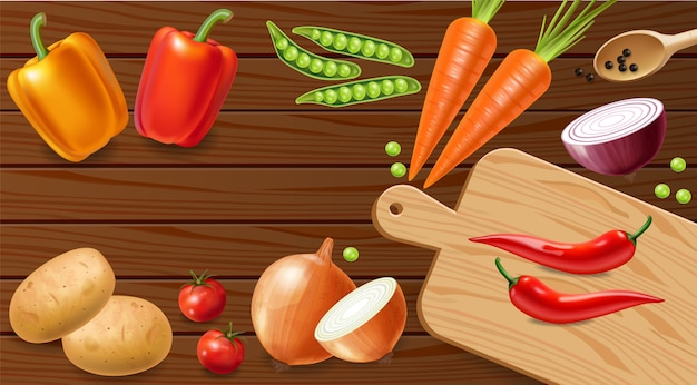 Groenten op houten tafel