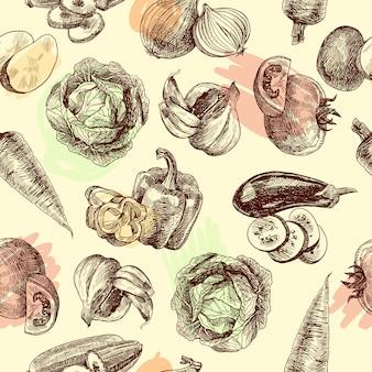 Groenten schetsen naadloze patroon