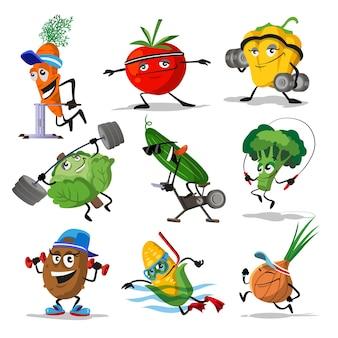 Groenten sport karakters. grappige plantaardig voedsel set met lachende en blije gezichten in sport uitoefenen, gele paprika komkommer, broccoli wortel, vectorillustratie.