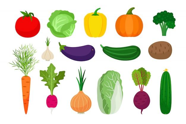 Groenten vlakke die pictogrammen op wit worden geplaatst