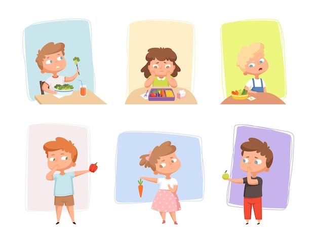Groenten voor kinderen. ongelukkige kinderen houden niet van gezonde groenten en fruit