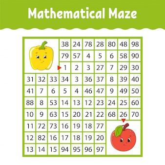 Groentenpeper, fruitappel. wiskundig vierkant doolhof. spel voor kinderen. nummer labyrint.