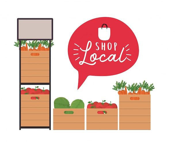 Groentenplank en dozen met winkel lokaal binnen bellenontwerp van kleinhandelskoop en marktthema