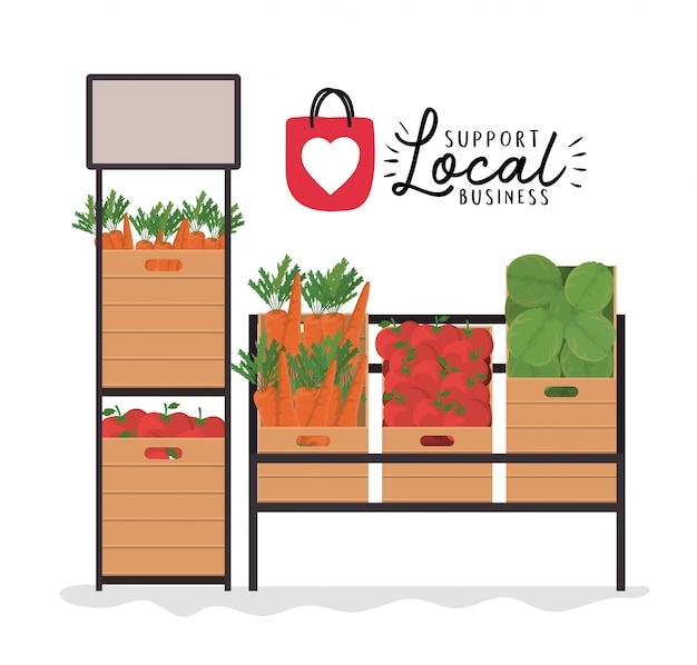 Groentenplanken met ondersteuning voor lokaal zakelijk ontwerp van winkelaankoop en marktthema
