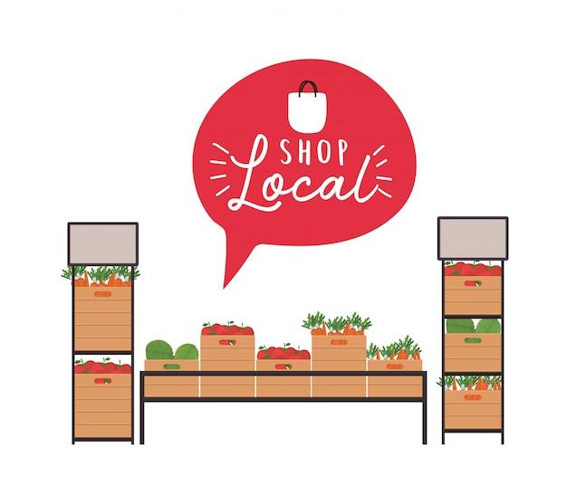 Groentenplanken met winkel lokaal binnen bubbelontwerp van detailhandel en marktthema