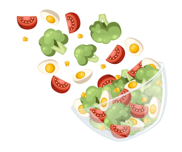 Groentesalade recept. salade valt in transparante kom. verse groenten cartoon design eten. vlakke afbeelding geïsoleerd op een witte achtergrond