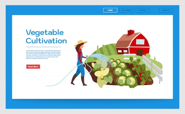 Groenteteelt bestemmingspagina vector sjabloon. website-interface met platte illustraties
