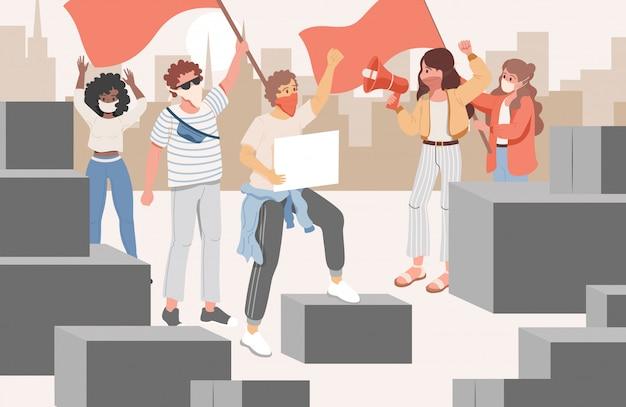 Groep activisten tijdens bijeenkomst in de stad platte cartoon afbeelding. mannen en vrouwen protesteren.
