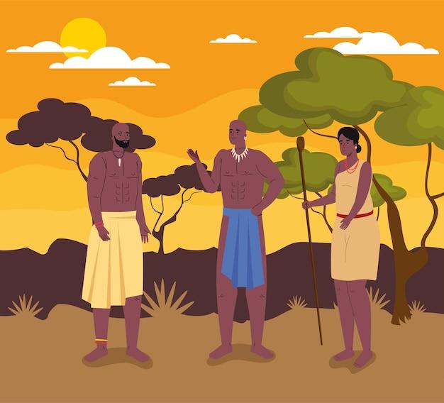 Groep afrikaanse aboriginals