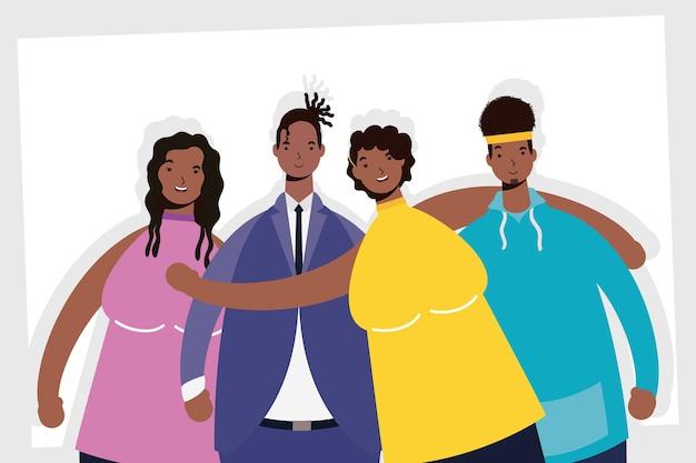 Groep afro mensen karakters