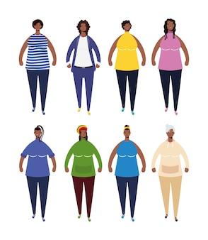 Groep afro vrouwen karakters