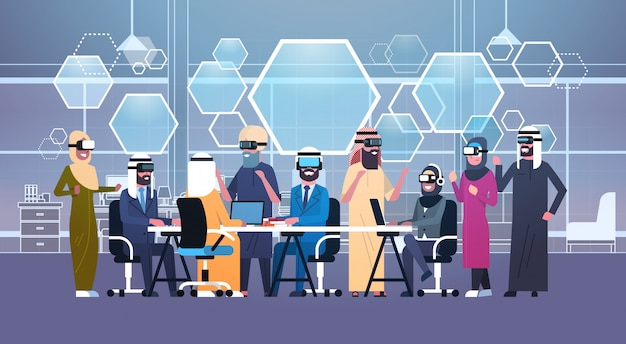 Groep arabische bedrijfsmensen die 3d glazen dragen tijdens vergadering in bureau