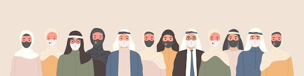 Groep arabische mensen in traditionele islamitische kleding met medische maskers