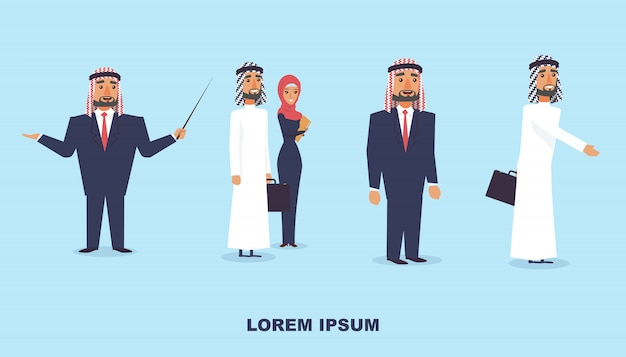 Groep arabische mensen instellen.