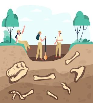 Groep archeologen die fossielen ontdekken, grond graven met dinosaurusbeenderen. vectorillustratie voor archeologie, paleontologie, wetenschap, expeditieconcept