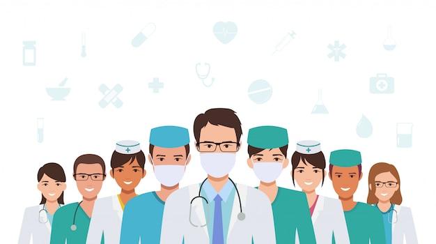 Groep arts en verpleegkundige verenigen zich samen om coronavirus-pandemie in plat pictogramontwerp te bestrijden