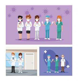 Groep artsen die medische maskers dragen