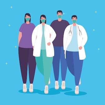 Groep artsen en patiënten die medisch masker dragen tegen covid19-illustratie