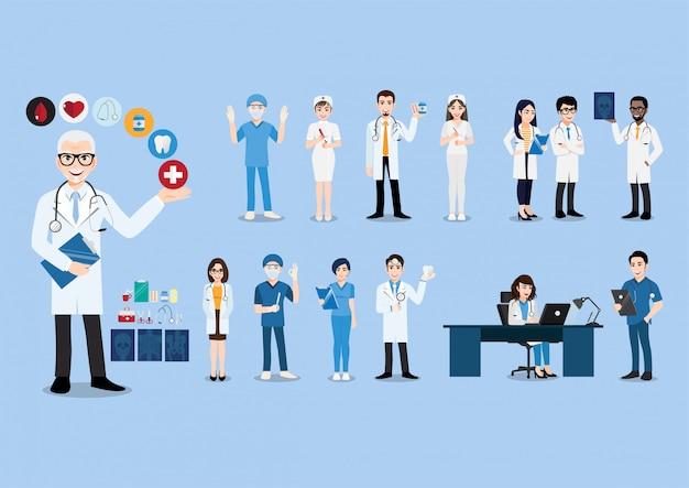 Groep artsen en verpleegsters en medisch personeel. medisch teamconcept in de karakters van ontwerpmensen.