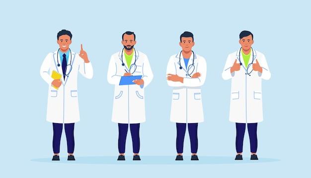 Groep artsen in jassen met een stethoscoop die bij elkaar staat. banner met team van medisch personeel, arts, ziekenhuispersoneel in doktersuniform