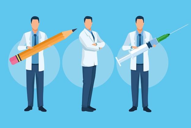 Groep artsenkarakters met vaccin en potloodillustratie