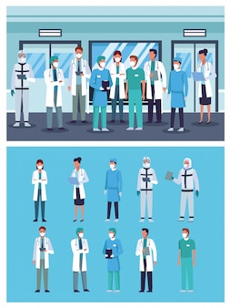 Groep artsenpersoneel dat medische maskers in het ziekenhuis draagt