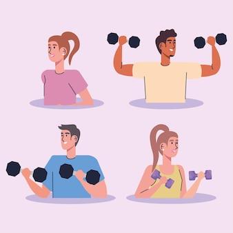 Groep atleten die het ontwerp van de de karaktersillustratie van dumbells opheffen