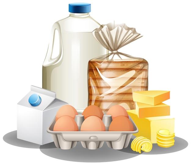 Groep bakselingrediënten zoals melkboter en eieren