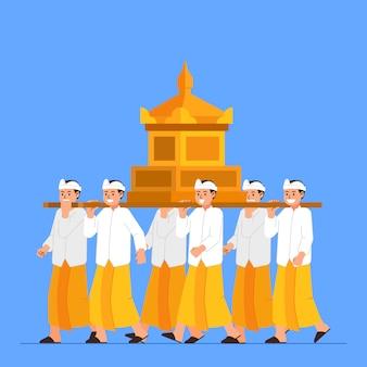 Groep balinese jongens dragen heilig voorwerp op schouder