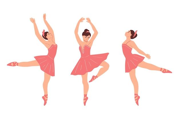 Groep ballerina's geïsoleerd op een witte achtergrond. dans ballet. vectorillustratie in vlakke stijl.
