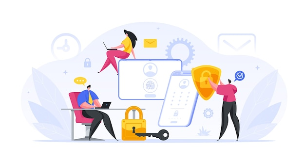 Groep bankspecialisten ingesteld webbescherming van het concept van klantrekeningen. mannelijke en vrouwelijke personages voeren de rekening uit. biometrische beveiligingstests van financiële deposito's