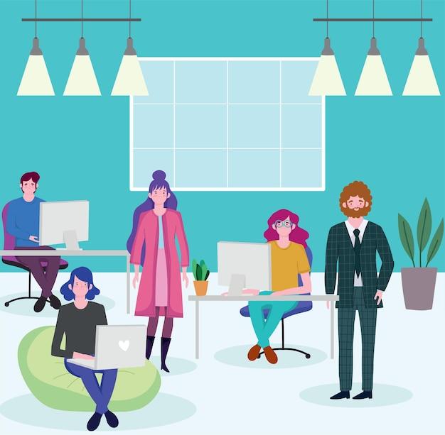 Groep beambten zitten aan een bureau met computer, mensen werken illustratie