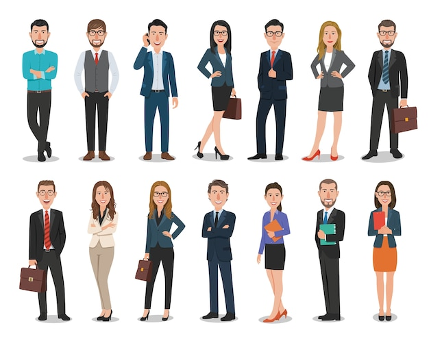 Groep bedrijfsmannen en bedrijfsvrouwenkarakters die in bureau werken