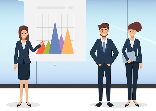 Groep bedrijfsmensen die bedrijfsgrafiek op whiteboard voorleggen. karaktermensen in seminariescène in bureau.