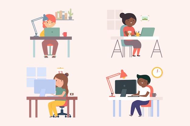 Groep bedrijfsmensen die bij bureaus werken