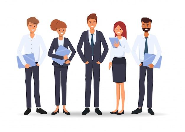 Groep bedrijfsmensen in het seminariescène van het groepswerkkarakter in bureau