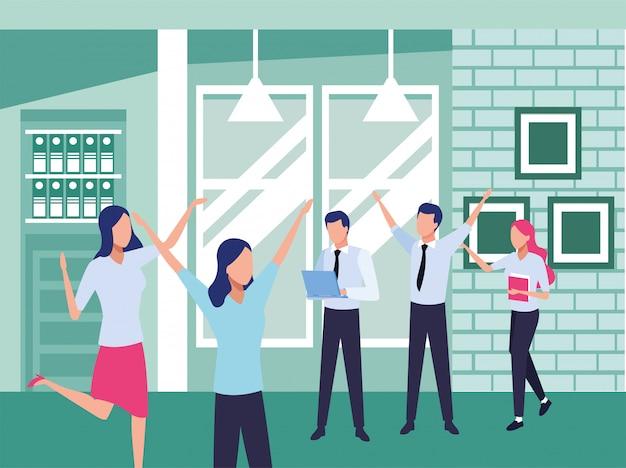Groep bedrijfsmensengroepswerk in de bureaukarakters