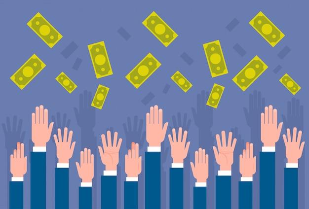 Groep bedrijfsmensenhanden die geld in het concept van het zakenluifinanciën van het luchtfinanciën vangen