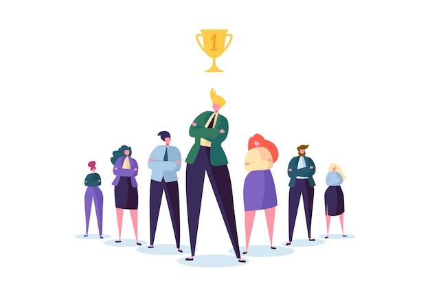 Groep bedrijfsmensenkarakters met leider. teamwork en leiderschap concept. succesvolle zakenman valt op voor platte mensen.