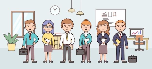 Groep bedrijfsmensenteam in het offive. set van kantoorpersoneel.