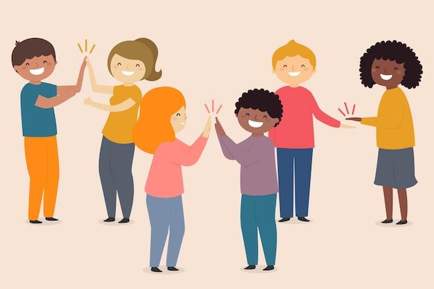 Groep beste vrienden die high five geven
