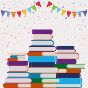 Groep boeken en wimpel