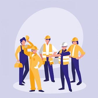 Groep bouwers avatar karakter