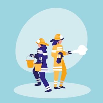 Groep brandweerlieden met emmers en brandblusser