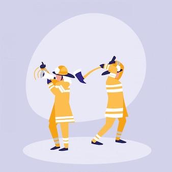 Groep brandweerlieden met megafoon met bijl
