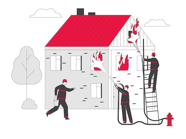 Groep brandweerlieden vechten met blaze bij burning house