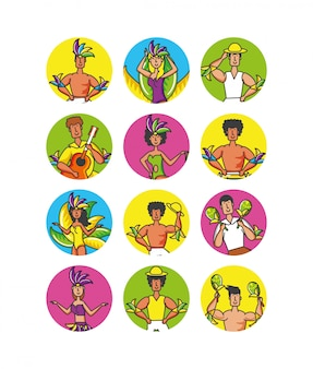 Groep braziliaanse danserskarakters